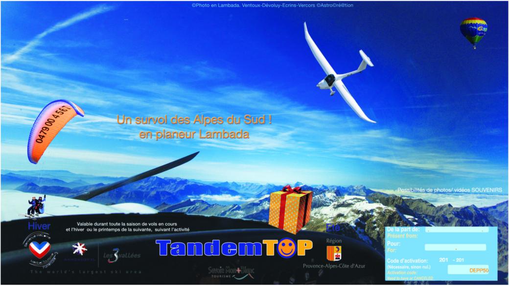 Bon cadeau Survol des Alpes du Sud ASTROplaneur GapTallard.FR Planeur Lambada